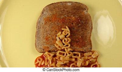 this dj sucks written with alphabetti spaghetti on toast