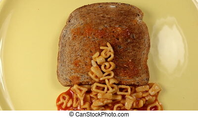 this dj sucks written with alphabetti spaghetti on toast