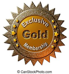 "This golden seal declaring ""Exclusive Gold Membership"" with five golden stars can be utilized on any web page or other promotional material for golden membership to any program."