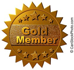 "This golden seal declaring ""Gold Member"" with five golden stars can be utilized on any web page or other promotional material for golden membership to any program."