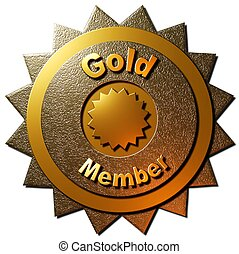 """This golden seal declaring """"Gold Member"""" with five golden stars can be utilized on any web page or other promotional material for golden membership to any program."""
