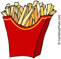 French fries - This illustration depicts a container of...