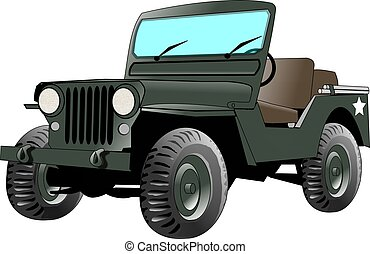 US Army Jeep - This illustration depicts a US Army Jeep