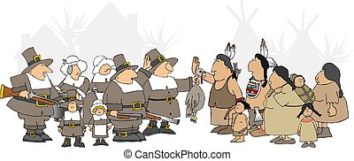 This illustration depicts American Indians and Pilgrims meeting for Thanksgiving dinner.