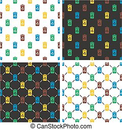 Recycling Trash Can Seamless Pattern Color Set