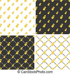Rifle or Gun Bullet Big & Small Seamless Pattern Color Set