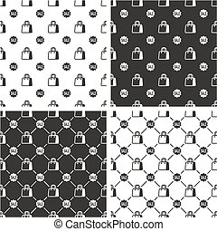Sale Sign & Shopping Bag or Paper Bag Big & Small Seamless Pattern Set
