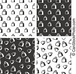 Shopping Bag or Paper Bag Big & Small Aligned & Random Seamless Pattern Set