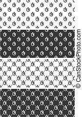 Stopwatch Seamless Pattern Set