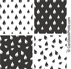 Water Drops Big & Small Aligned & Random Seamless Pattern Set