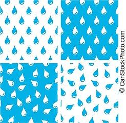 Water Drops Aligned & Random Seamless Pattern Blue Color Set