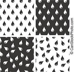 Water Drops Aligned & Random Seamless Pattern Set