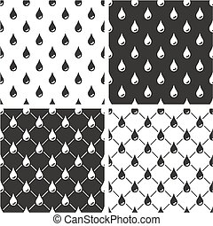Water Drops Seamless Pattern Set