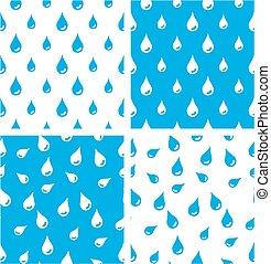 Water Drops Big & Small Aligned & Random Seamless Pattern Blue Color Set