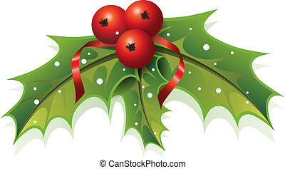 This image is a vector file representing a Holly Christmas Plant.