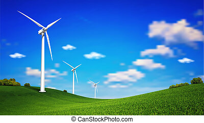 This image is a vector file represents a Wind Turbine landscape illustration.