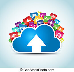 Cloud Apps - This image represents a cloud upload with apps ...
