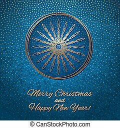 This is a blue and gold Christmas card