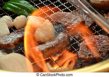 This is a picture of Korean barbecue Yakiniku.