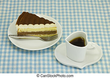 This is a picture of the cake and coffee.