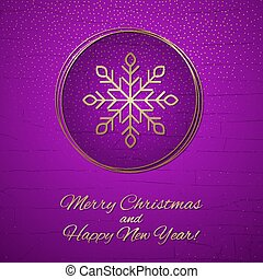 This is a Purple and gold Christmas card
