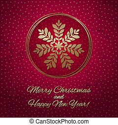 This is a red and gold Christmas card