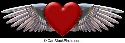 Red heart with chromed wings - This is a Red heart with ...