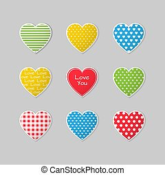 This is a set of colorful heart icons