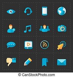 Modern flat social icons set on Black