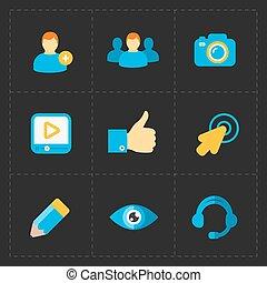 Modern flat social icons set on Dark
