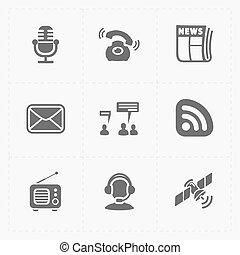 Six Flat social icons set on White
