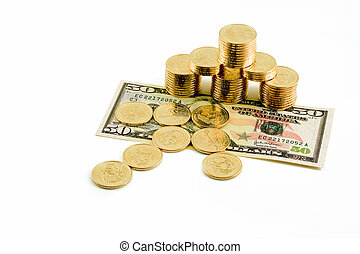 This is an arrow of US dollar coins pointing to a stack of golden coins that is resting on a crisp US fifty dollar bill. This photo is great for your financial motives.