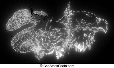 This is an Eagle lynx snake Heads Mascot digital neon video...