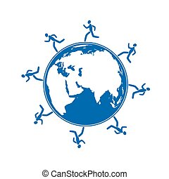 men running around globe