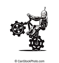 robot on bicycle - This is an illustration of a robot on...