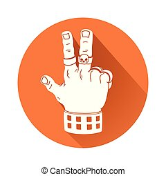 hand in victory gesture