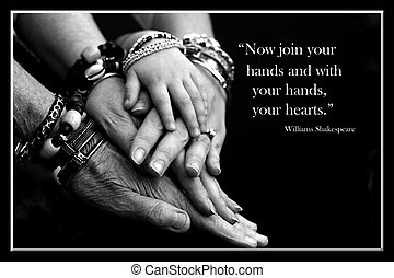This is an image of 4 generations of hands.