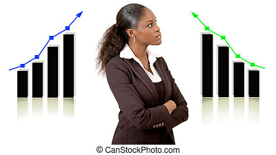 """This is an image of a businesswoman in front of two graphs planning for success. This image can be used to represent """"Planning Successs"""" themes."""