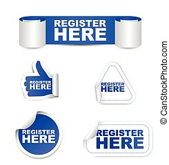 This is blue set vector paper stickers register here