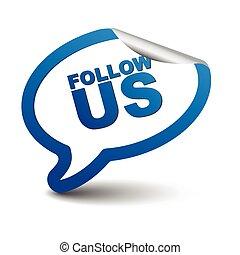 blue vector element bubble follow us