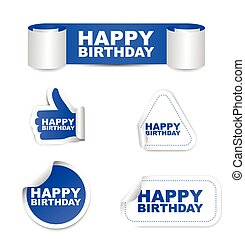 blue vector set paper stickers happy birthday