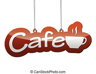 brown vector background cafe with icon cup coffee