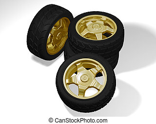 four big golden rims with big tyres