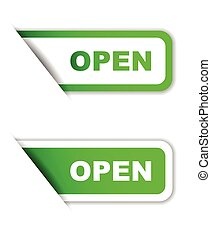 green vector paper sticker open (two variant)