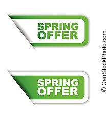 green vector paper sticker spring offer (two variant)