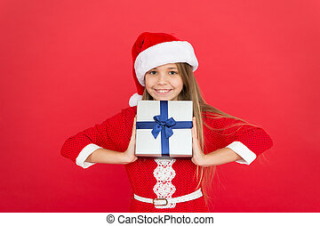 this is mine. time for xmas gifts. time to celebrate new year. best christmas gift shop. winter holidays shopping. present box for happy kid. little girl santa elf. christmas present delivery in time