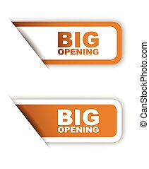 orange vector paper sticker big opening (two variant)