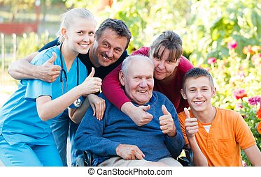 Family being satisfied with the medical attendance.