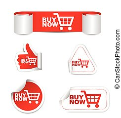 red set vector paper sticker buy now with icon