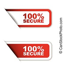 red set vector paper stickers 100% secure